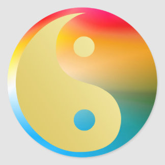 Groovin' Yin and Yang Classic Round Sticker