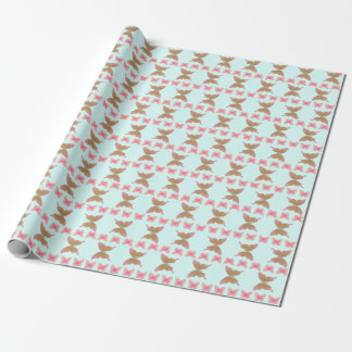Groovy 60's Peace Butterfly Rows Pink on Blue Wrapping Paper