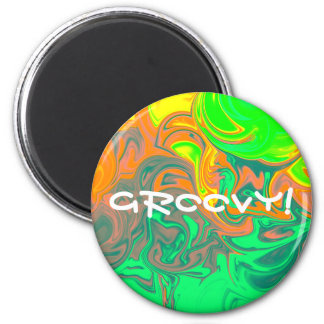 GROOVY! 6 CM ROUND MAGNET