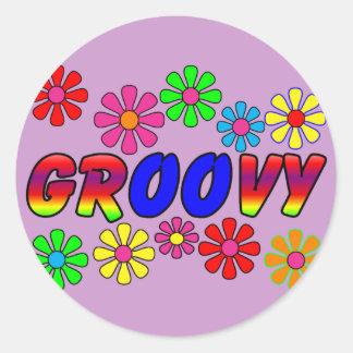 Groovy 70 s Retro Flower Power Gifts Round Sticker