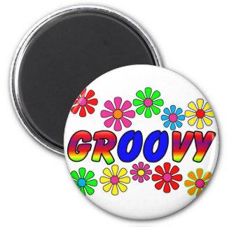 Groovy 70's Retro Flower Power Gifts 6 Cm Round Magnet
