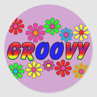 Groovy 70's Retro Flower Power Gifts Round Sticker