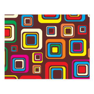 Groovy 70s Tile Pattern Squares On Brown Postcard