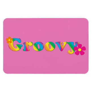 Groovy and Flowers Bright Colors 60s Hippie Design Rectangular Photo Magnet