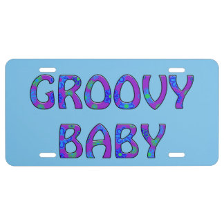 Groovy Baby blue mod pop flower power tag License Plate