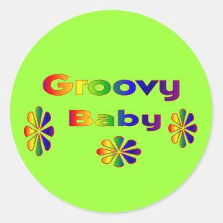 groovy baby round sticker