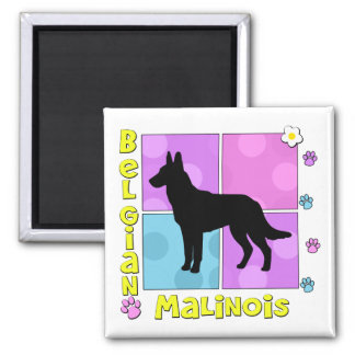 Groovy Belgian Malinois Square Magnet