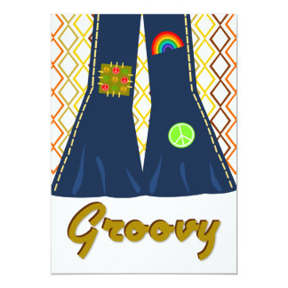 Groovy Bell Bottom 70's Theme Party Personalized Invites