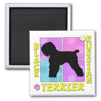 Groovy Black Russian Terrier Square Magnet