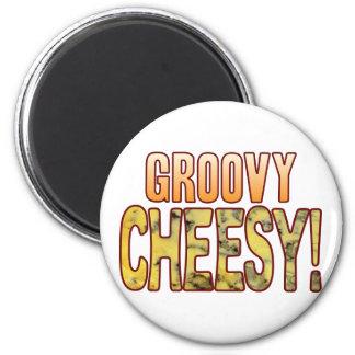 Groovy Blue Cheesy 6 Cm Round Magnet