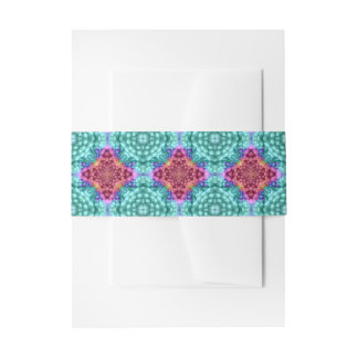 Groovy  Blue   Colorful Invitation Belly Band