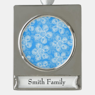 Groovy Blue Flowers Design Silver Plated Banner Ornament