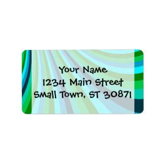 Groovy Blue Green Rainbow Slide Stripes Pattern Address Label