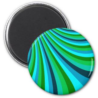 Groovy Blue Green Rainbow Slide Stripes Retro 6 Cm Round Magnet