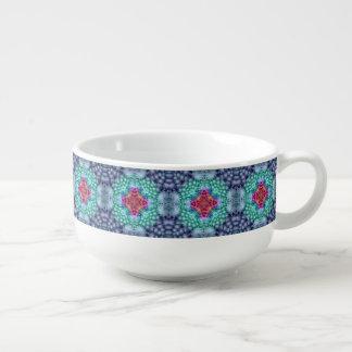 Groovy  Blue  Kaleidoscope Soup Mugs