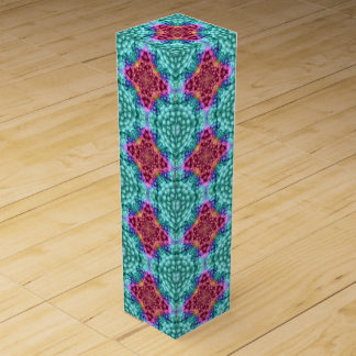 Groovy Blue Vintage Kaleidoscope  Wine Gift Box