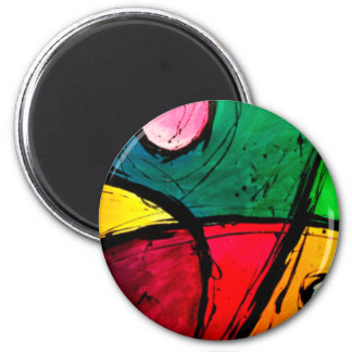 Groovy Bright Abstract Acrylic Art 6 Cm Round Magnet