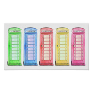 Groovy British phone booth wall art Posters