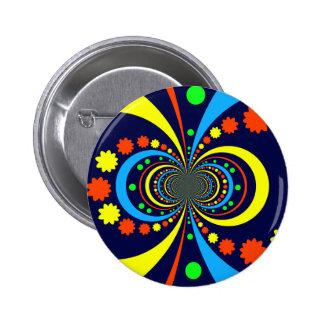 Groovy Bug Eyes Stars Stripes Blue Orange Button