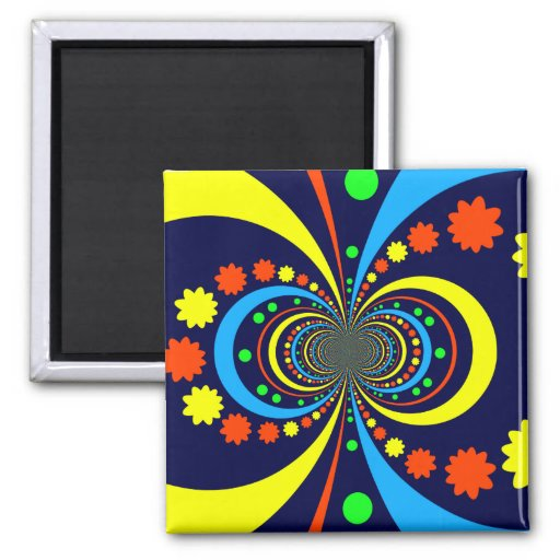 Groovy Bug Eyes Stars Stripes Blue Orange Fridge Magnet