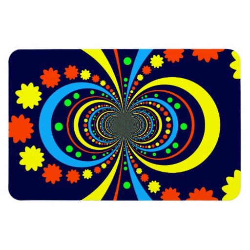 Groovy Bug Eyes Stars Stripes Blue Orange Magnet