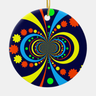 Groovy Bug Eyes Stars Stripes Blue Orange Round Ceramic Decoration