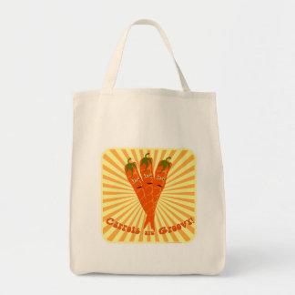 Groovy Carrots Grocery Tote Bag