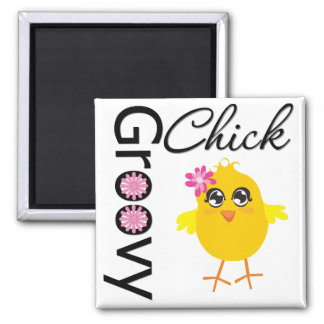 Groovy Chick Square Magnet