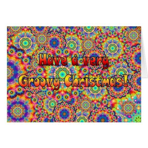 Groovy christmas greeting card zazzle