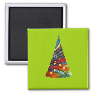 Groovy Christmas Tree Square Magnet