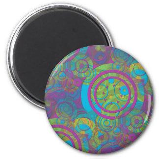 Groovy Circles 6 Cm Round Magnet