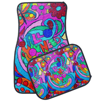 groovy colorful peace and love car mat