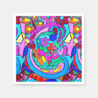 groovy colorful peace and love disposable serviettes