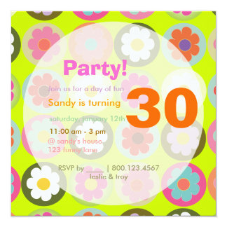 Groovy Daisies/Bright Sixties Birthday Party Card