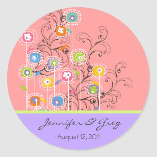 Groovy Flower Garden Save-the-Date / Gift / TQ / Classic Round Sticker