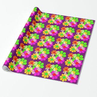 Groovy Flower Power Flowers Gift Wrap