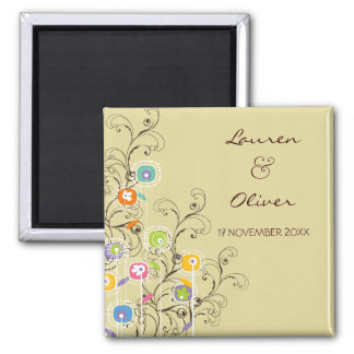 Groovy Flowers Garden Whimsical Save The Date Square Magnet