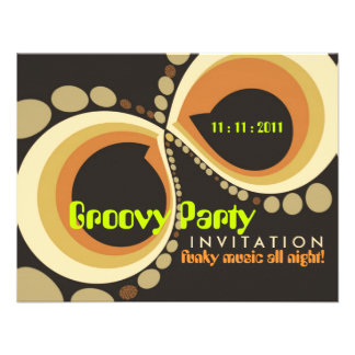 Groovy Funky Party Invitation template