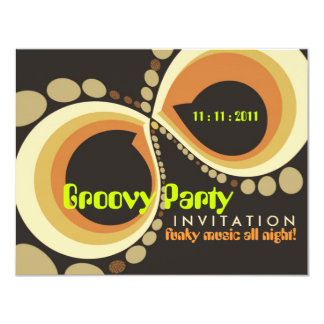 "Groovy Funky Party Invitation template 4.25"" X 5.5"" Invitation Card"