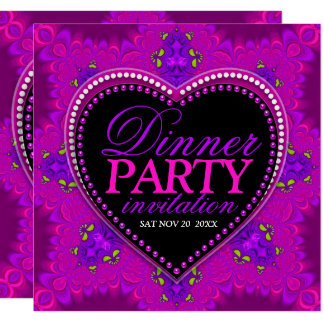 Groovy Girl Love Pink Bohemian Dinner Party Card