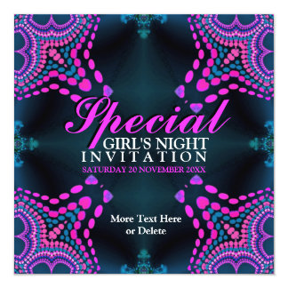 Groovy Girls Night Purple Hot Pink Party Invitatio Card