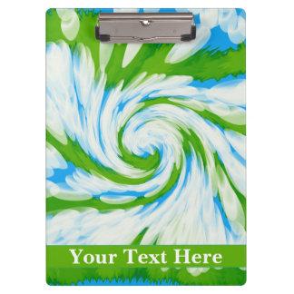Groovy Green Blue Tie Dye Swirl Clipboard