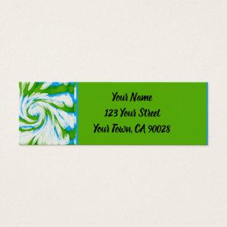 Groovy Green Blue Tie Dye Swirl Mini Business Card