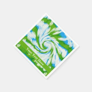 Groovy Green Blue Tie Dye Swirl Paper Napkin