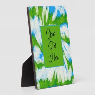 Groovy Green Blue Tie Dye Swirl Plaque