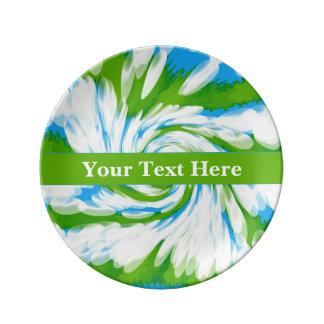 Groovy Green Blue Tie Dye Swirl Plate