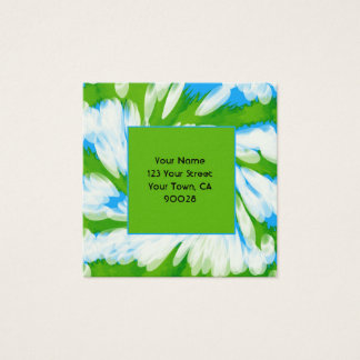 Groovy Green Blue Tie Dye Swirl Square Business Card