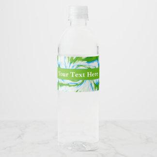 Groovy Green Blue Tie Dye Swirl Water Bottle Label