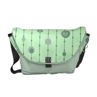 Groovy Green Retro Circles Courier Bag