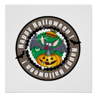 Groovy Happy Halloween Bat Pumpkin Poster